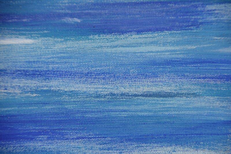 在帆布,蓝色的抽象油画上色了背景 免版税库存照片