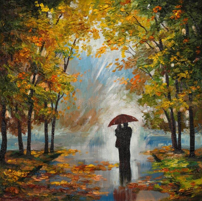 在帆布-夫妇的油画在森林里 皇族释放例证