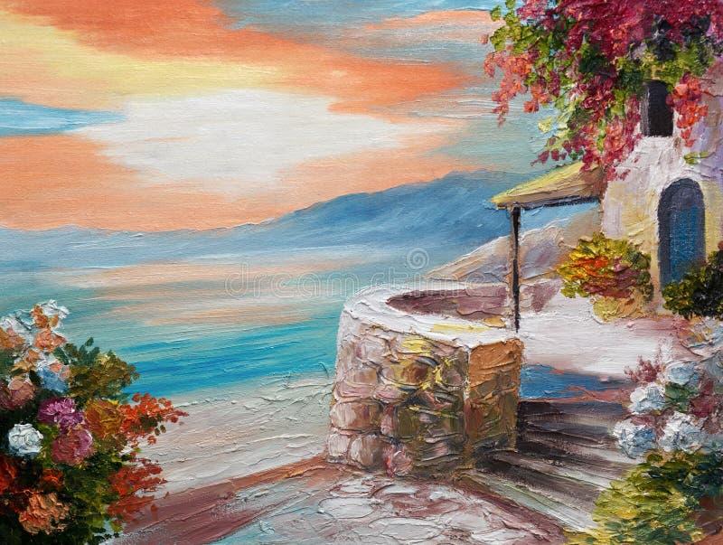 在帆布-希腊堤防的油画 皇族释放例证