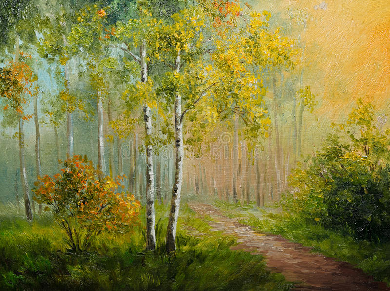在帆布-桦树森林,抽象图画的油画 皇族释放例证