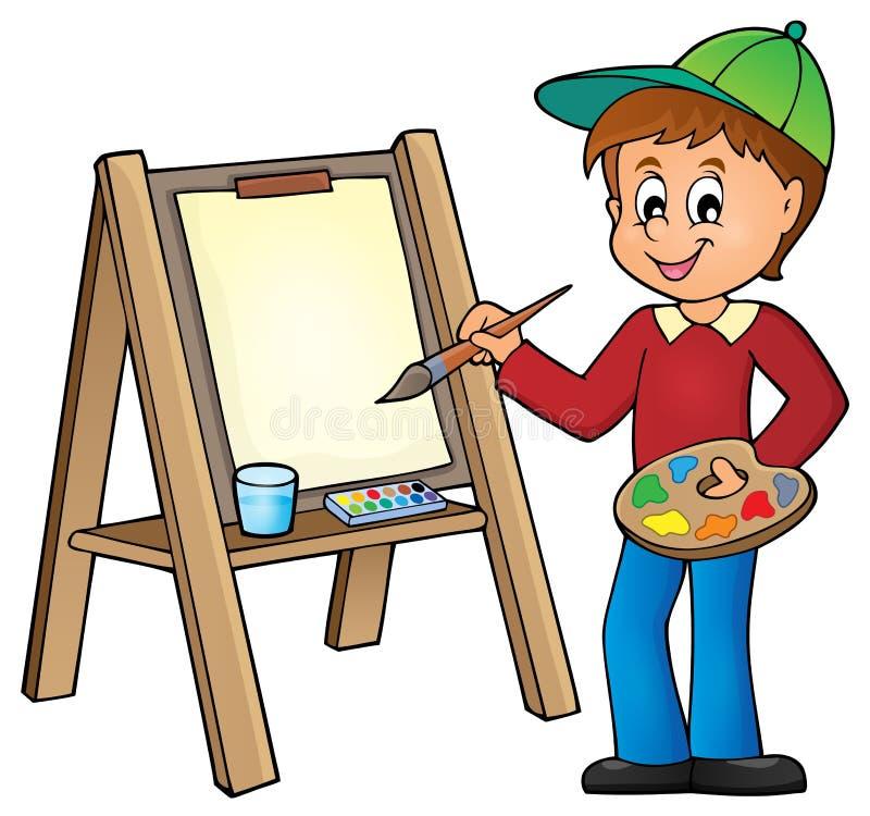 在帆布1的男孩绘画 皇族释放例证