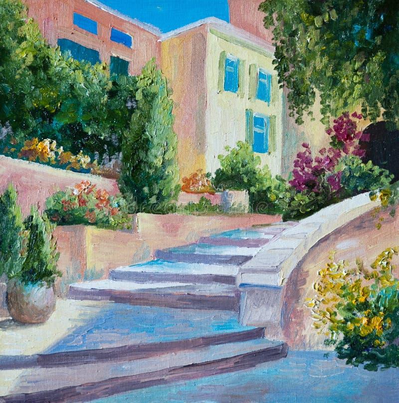 在帆布-石台阶在希腊城市,花的油画 库存例证