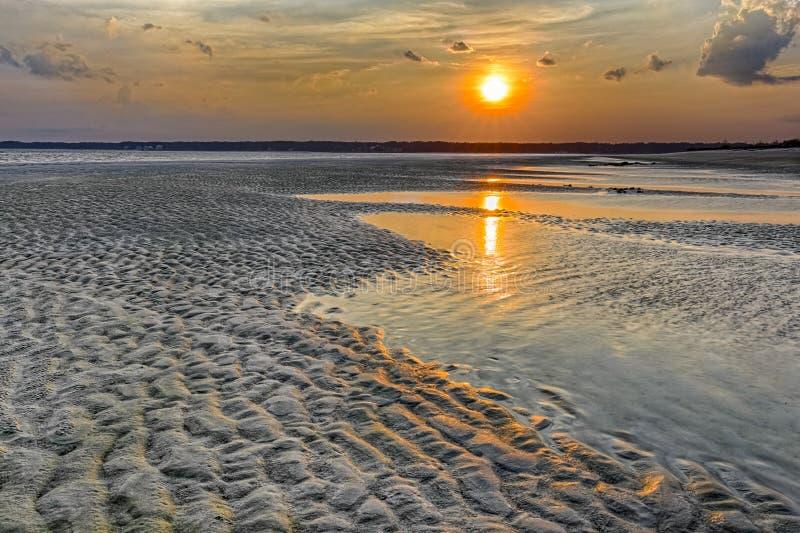 在希尔顿黑德岛的日落 库存照片