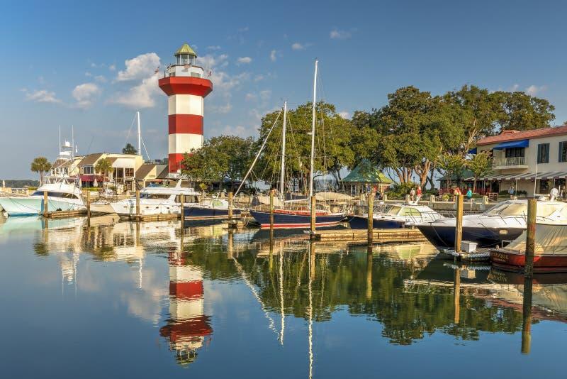 在希尔顿黑德岛的灯塔 免版税库存照片