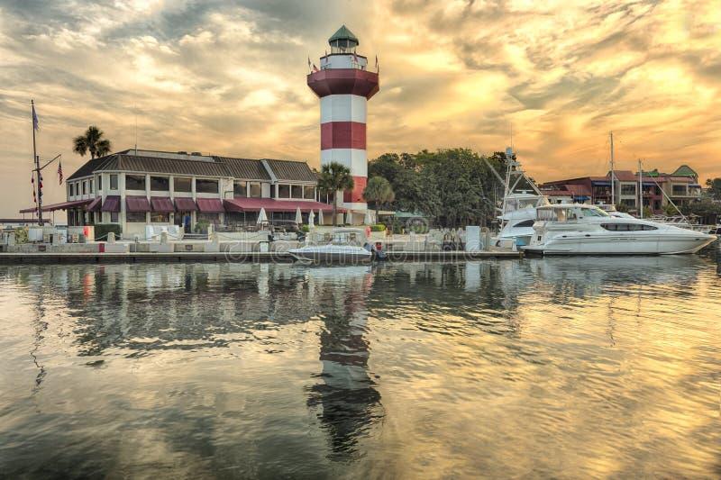 在希尔顿黑德岛的灯塔 库存图片
