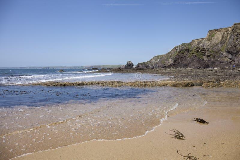 在希望小海湾,德文郡,英国的海岸线 库存图片