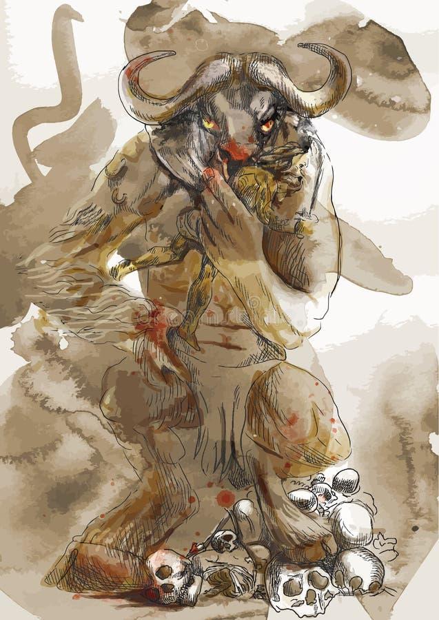 Minotaur, Theseus 皇族释放例证