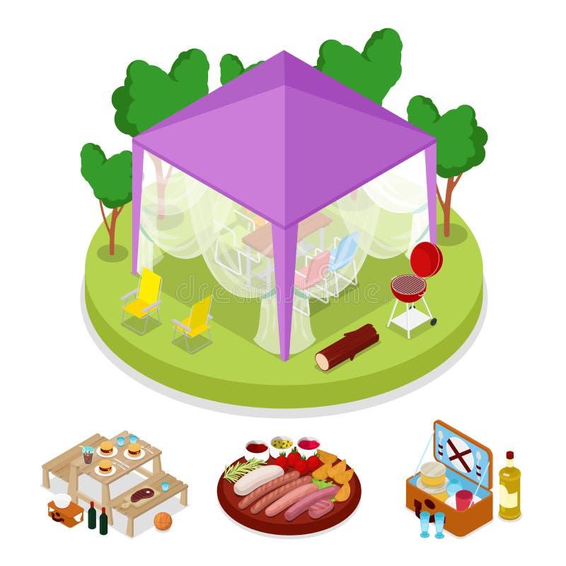 在帐篷的等量BBQ野餐党 暑假阵营 烤肉 库存例证