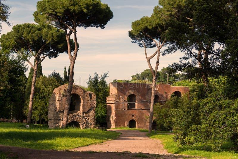 在帕勒泰恩小山的罗马废墟在罗马 免版税库存图片