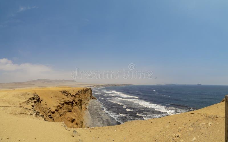 在帕拉卡斯半岛国立公园储备,Pisco,秘鲁的全景风景 库存照片