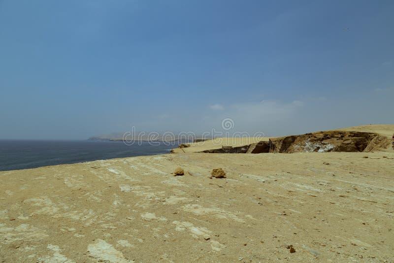 在帕拉卡斯半岛国立公园储备,Pisco,秘鲁的全景风景 免版税库存照片