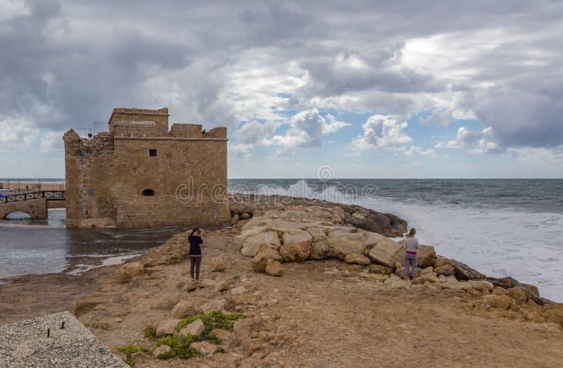 在帕福斯防御在塞浦路斯在一风暴日 库存图片