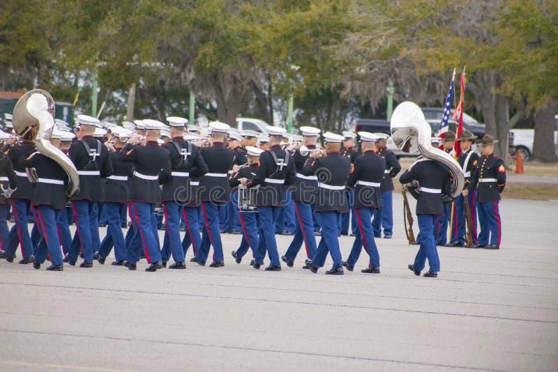 在帕里斯海岛, SC的陆战队游行乐队 免版税库存图片