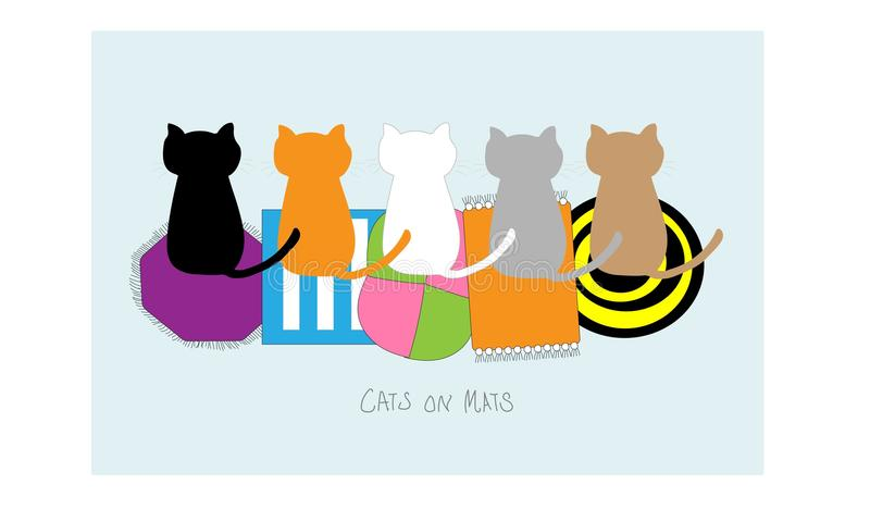 在席子的猫 库存例证