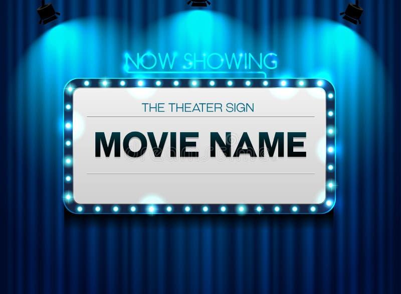 在帷幕和斑点轻的背景的剧院标志 向量例证