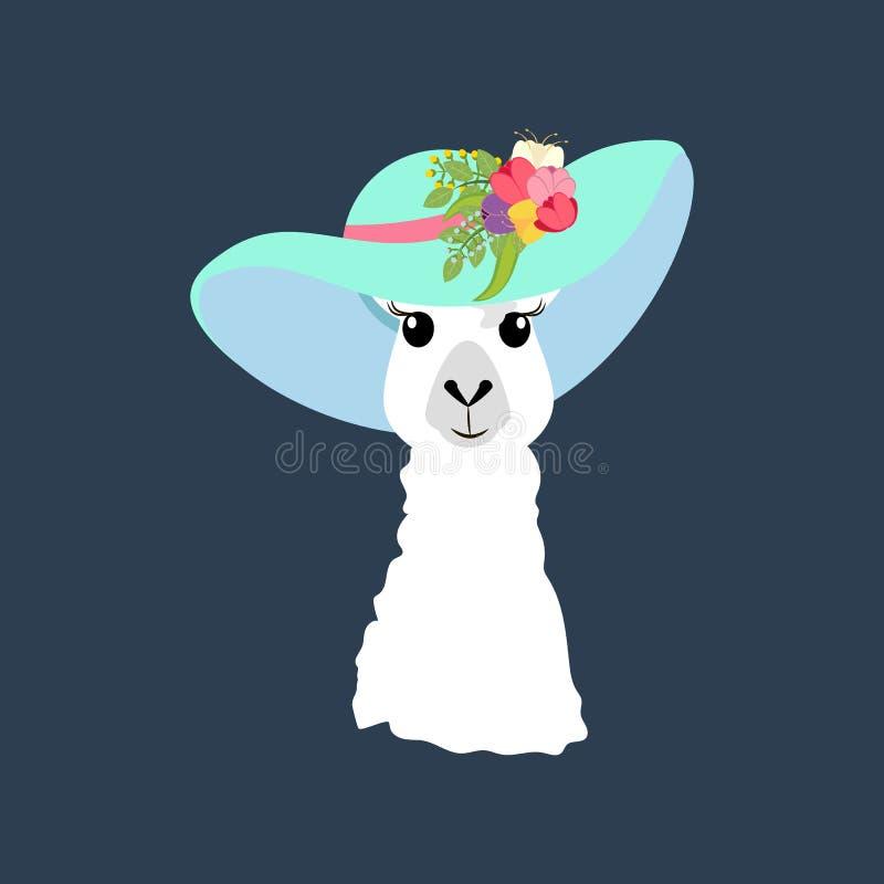 在帽子例证的骆马 免版税库存图片