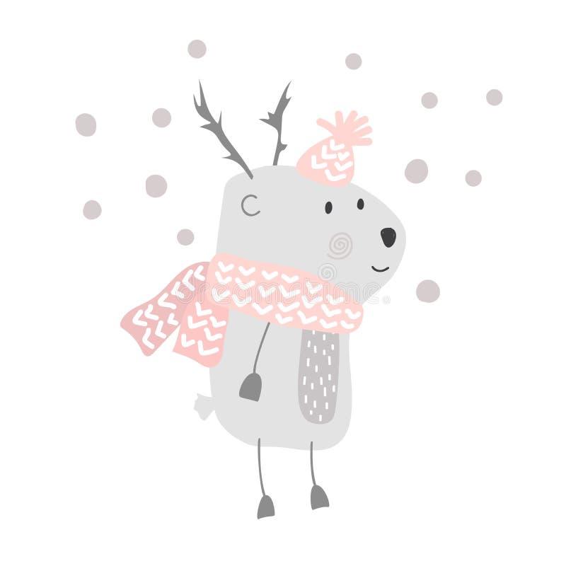 在帽子和围巾例证设计的圣诞节传染媒介逗人喜爱的动画片鹿 bambi动物传染媒介 快活的Xmas贺卡 向量例证