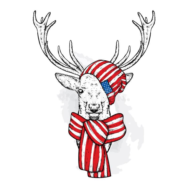 在帽子和围巾的一头美丽的鹿 导航明信片或海报的,衣裳的印刷品例证 向量例证