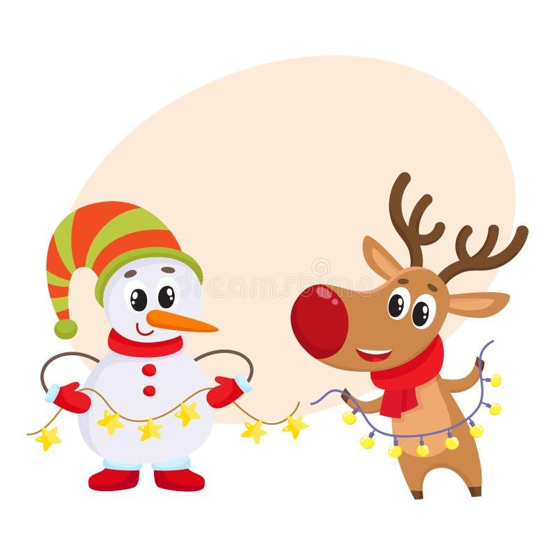 在帽子和手套的雪人有在围巾的圣诞节驯鹿的 向量例证