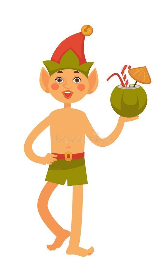 在帽子和游泳裤的矮子拿着椰子鸡尾酒 向量例证