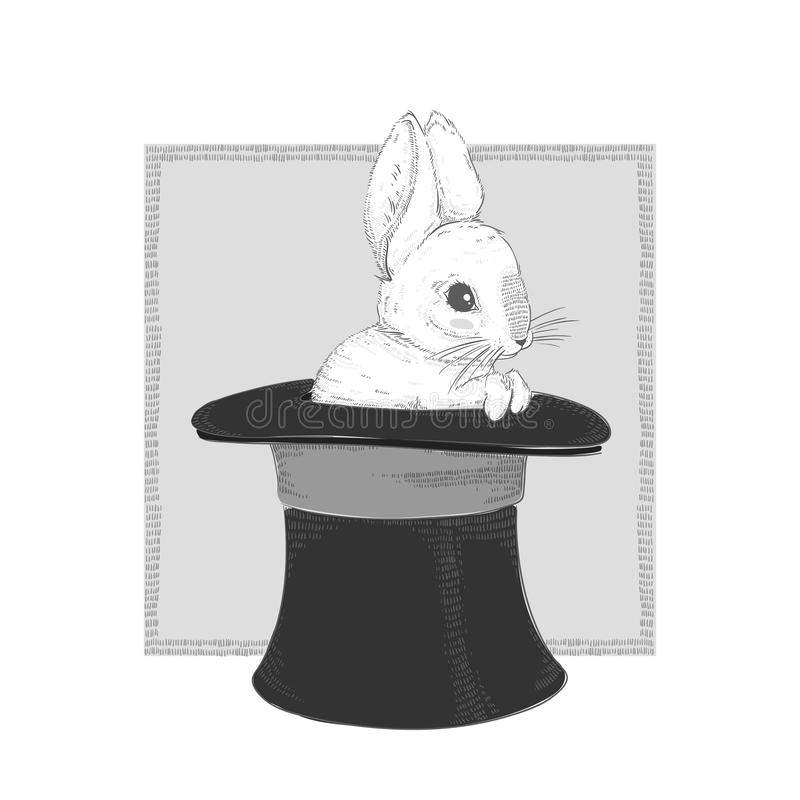 在帽子的兔子 图画递她的温暖的妇女年轻人的早晨内衣 也corel凹道例证向量 向量例证
