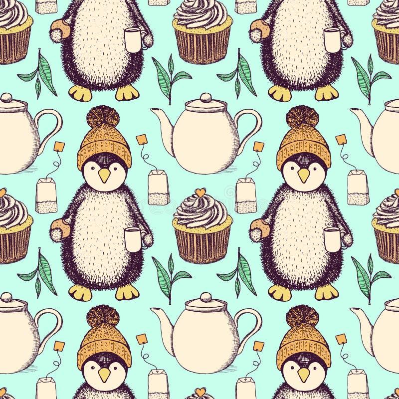 在帽子的剪影pinguin用茶 向量例证