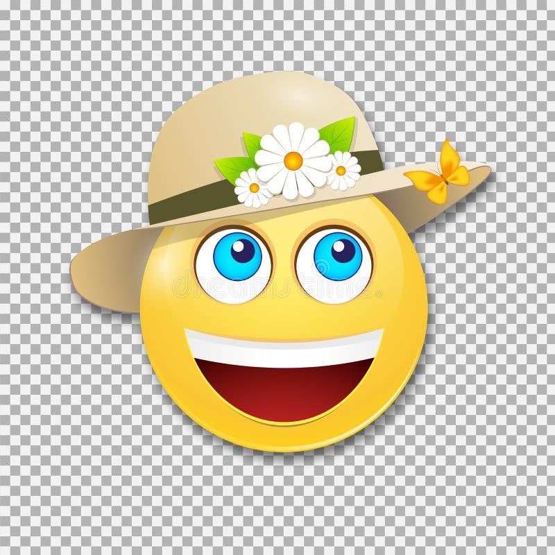 在帽子的微笑的面带笑容 情感,传染媒介 库存例证