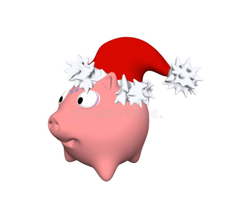 在帽子的猪是新年2019年例证的标志3D 向量例证