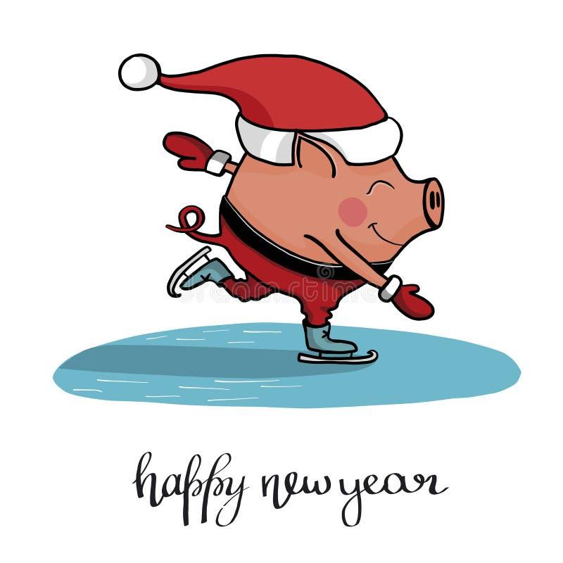 在帽子的逗人喜爱的猪圣诞老人项目滑冰 皇族释放例证
