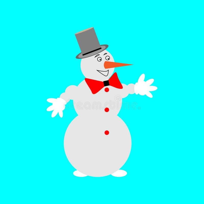 在帽子的雪人有在蓝色背景的蝴蝶的 免版税图库摄影