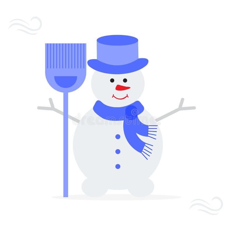 在帽子,有笤帚的围巾的雪人 向量例证