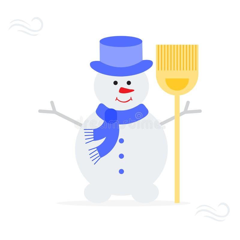 在帽子,有笤帚的围巾的雪人 皇族释放例证
