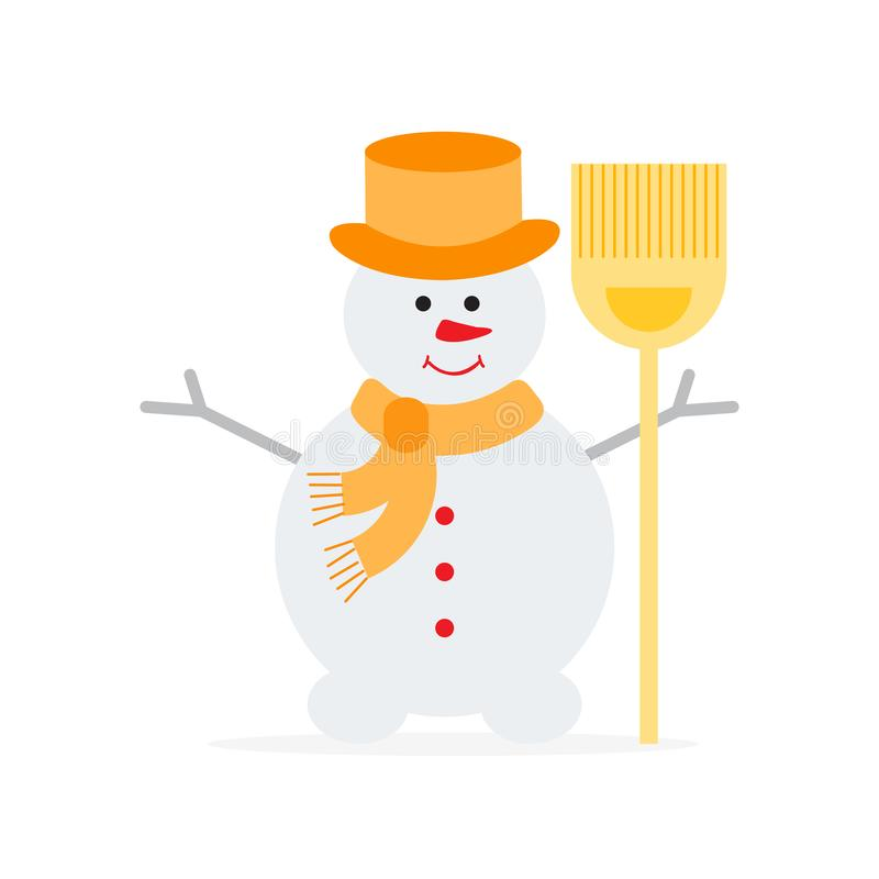 在帽子,有笤帚的围巾的雪人 库存例证