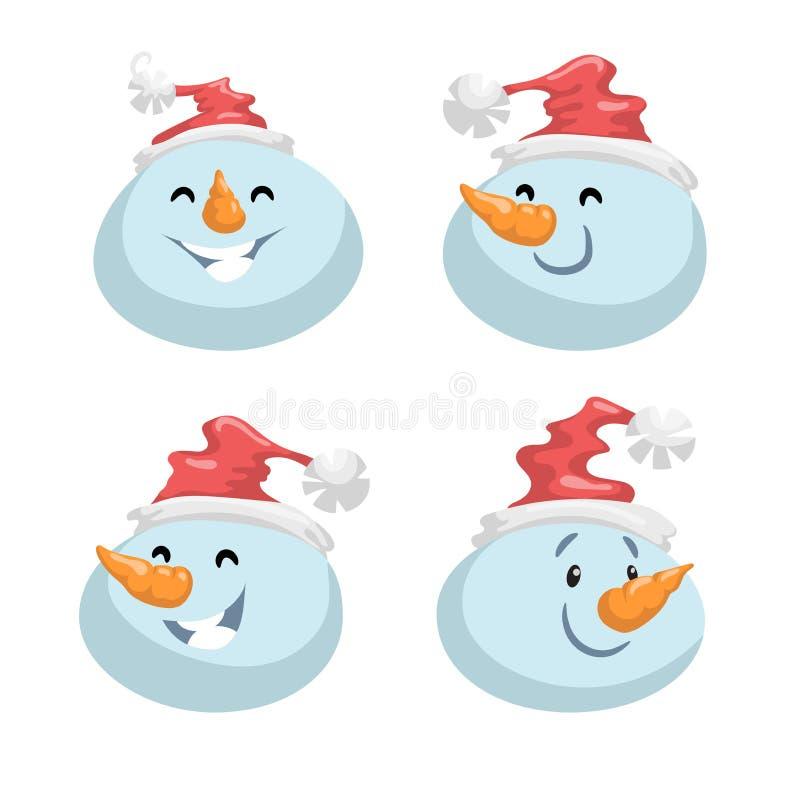 在帽子头情感传染媒介具体化的逗人喜爱的雪人被设置 动画片表示面孔字符 皇族释放例证