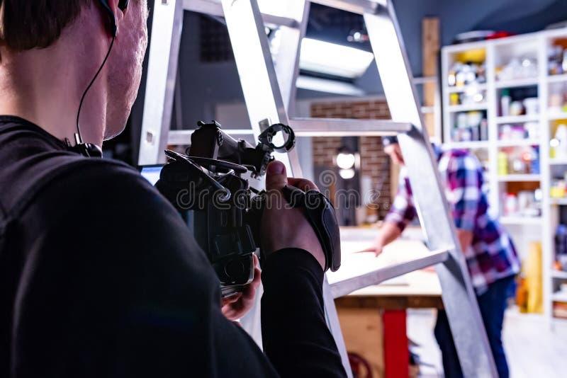 在幕后录影生产或录影射击 免版税库存图片