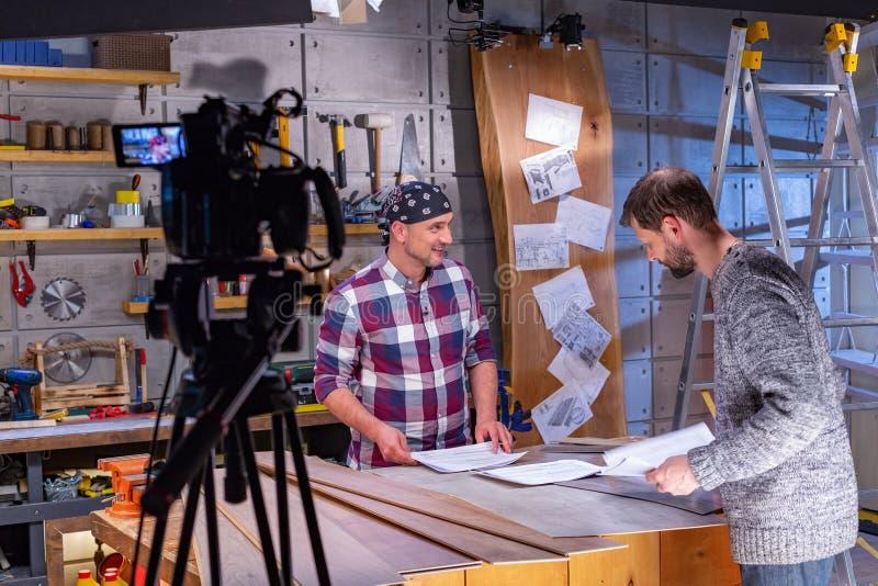 在幕后录影生产或录影射击 免版税库存照片