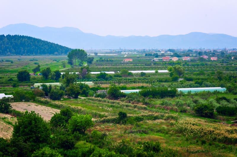 在干净和被保存的绿色山谷的看法 免版税图库摄影