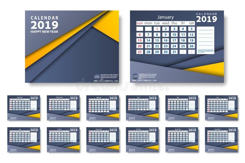 2019在干净的最小的桌简单的样式和蓝色和橙黄色颜色的新年日历传染媒介  皇族释放例证