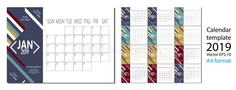 2019在干净的最小的桌简单的样式和蓝色颜色A4大小的新年日历传染媒介  皇族释放例证