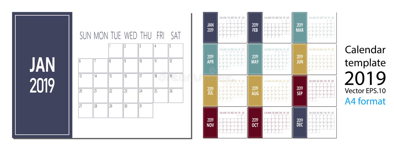 2019在干净的最小的桌简单的样式和蓝色颜色A4大小的新年日历传染媒介  库存例证