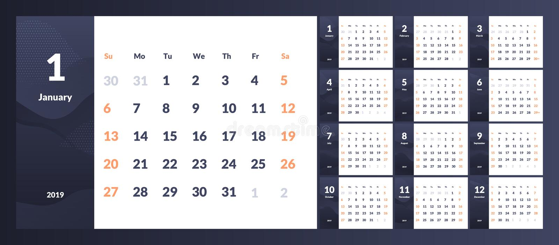 2019在干净的最小的桌简单的样式的新年日历传染媒介  向量例证