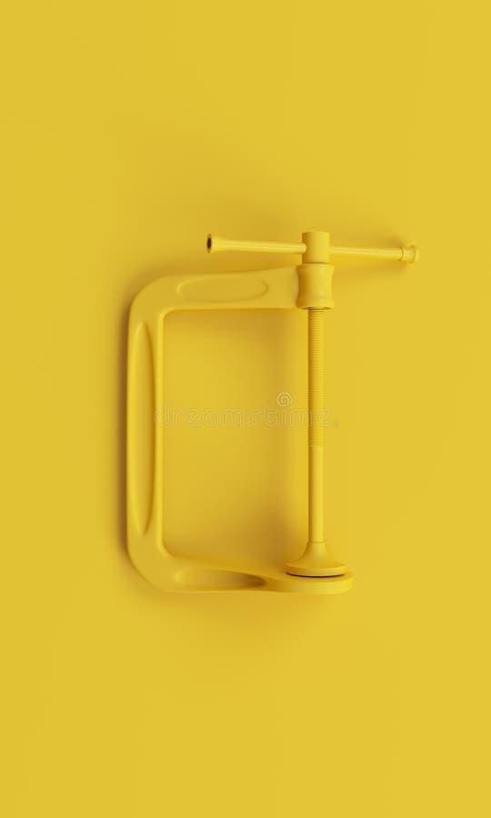 在干净的黄色背景的Minimalistic黄色钳位 3d回报 库存照片