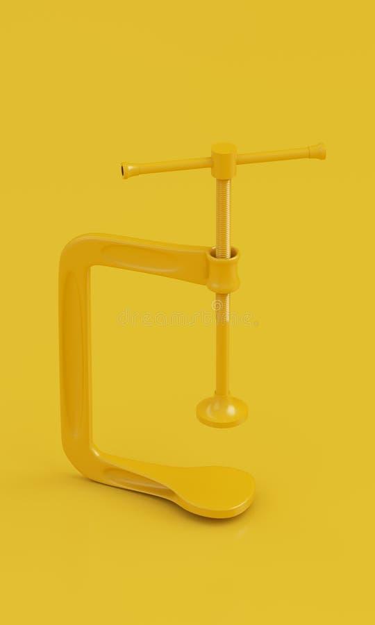 在干净的黄色背景的Minimalistic黄色钳位 3d回报 库存图片
