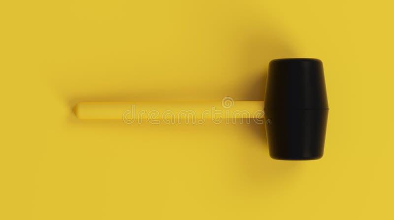 在干净的黄色背景的Minimalistic Black&Yellow短槌 3d回报 库存图片