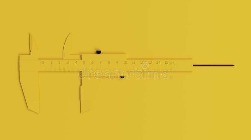 在干净的黄色背景的Minimalistic Black&Yellow轮尺 3d回报 图库摄影