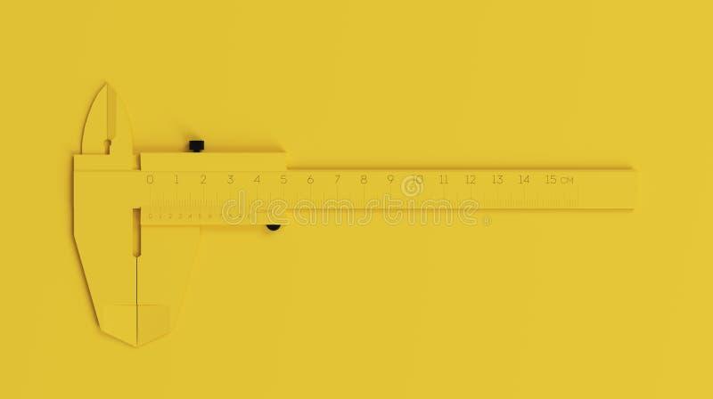 在干净的黄色背景的Minimalistic Black&Yellow轮尺 3d回报 库存图片