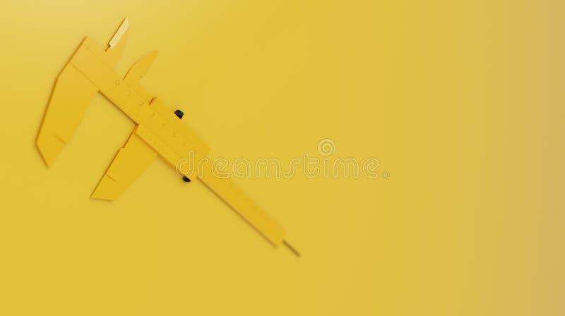 在干净的黄色背景的Minimalistic Black&Yellow轮尺 3d回报 免版税库存图片