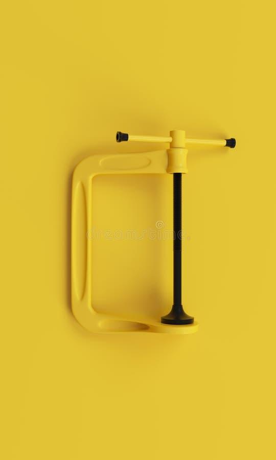 在干净的黄色背景的Minimalistic Black&Yellow钳位 3d回报 免版税图库摄影