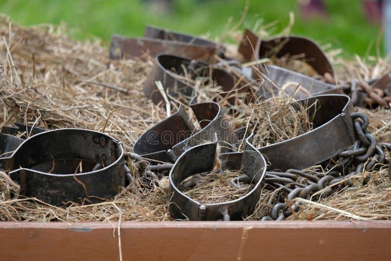 在干草的手铐 库存图片