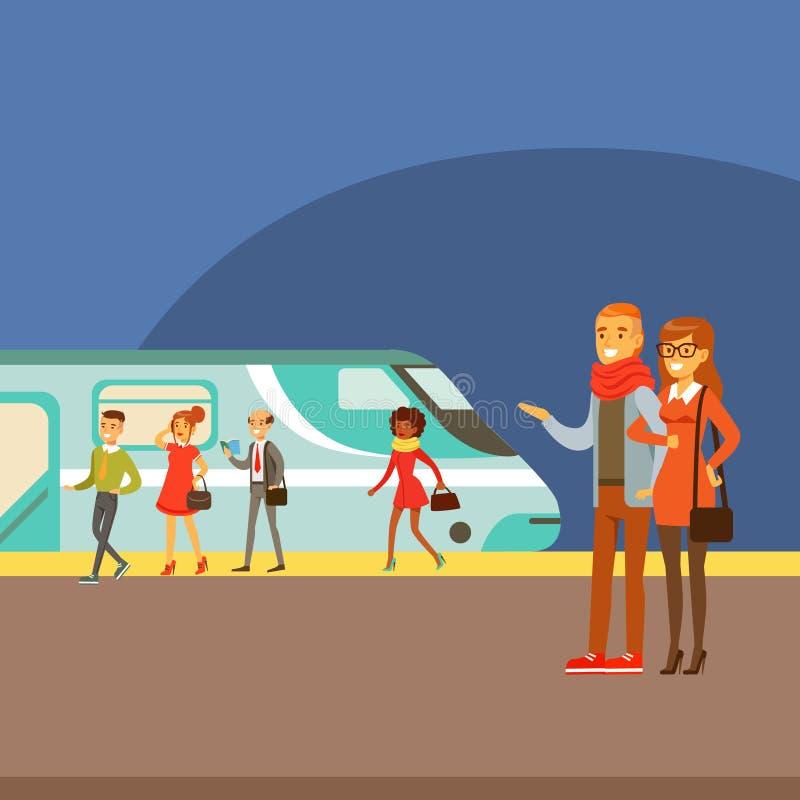 在平台,采取另外运输的一部分的夫妇等待的火车到来的人键入动画片场面系列  库存例证